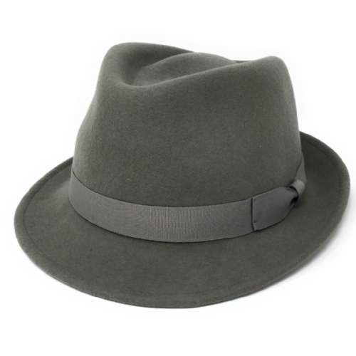 Grey Trilby Hat: Handmade Wool Felt Crushable - Camden